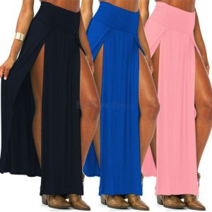 New-Skirts-Womens-Summer-2014-Girls-Candy-Color-High-Waist-Double-Slit-Maxi-Skirt-Long-Sheer