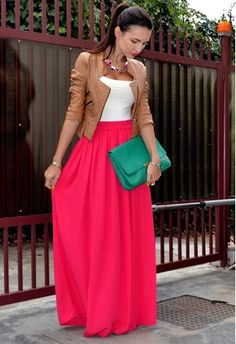 High Waisted Maxi Skirt Outfits - Dress Ala