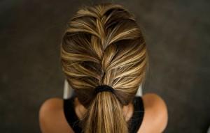 half-french-braid-into-ponytail